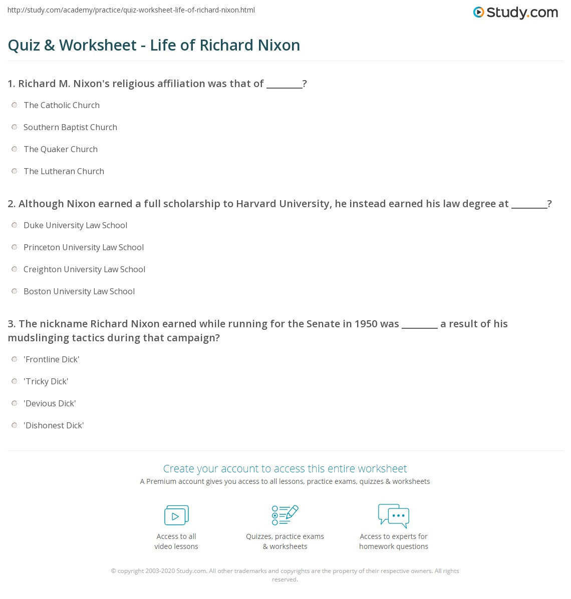 quiz worksheet life of richard nixon com print richard nixon biography facts quotes worksheet