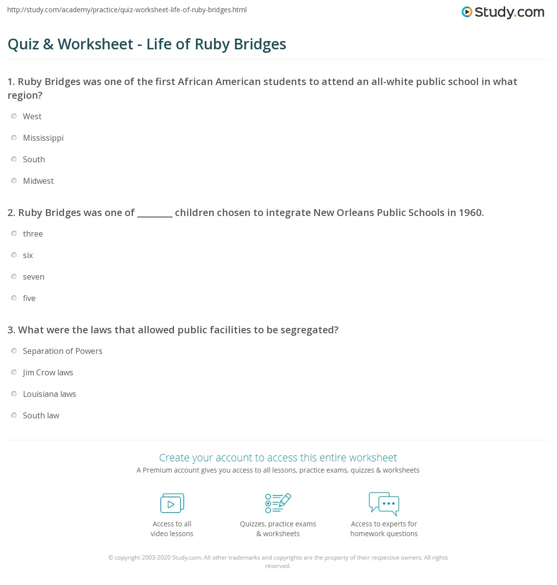 Worksheets Ruby Bridges Worksheets quiz worksheet life of ruby bridges study com print biography facts quotes worksheet