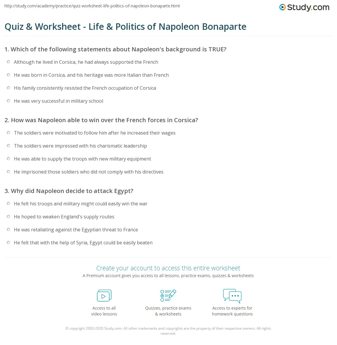 quiz worksheet life politics of napoleon bonaparte com print napoleon bonaparte history politics rise to power worksheet