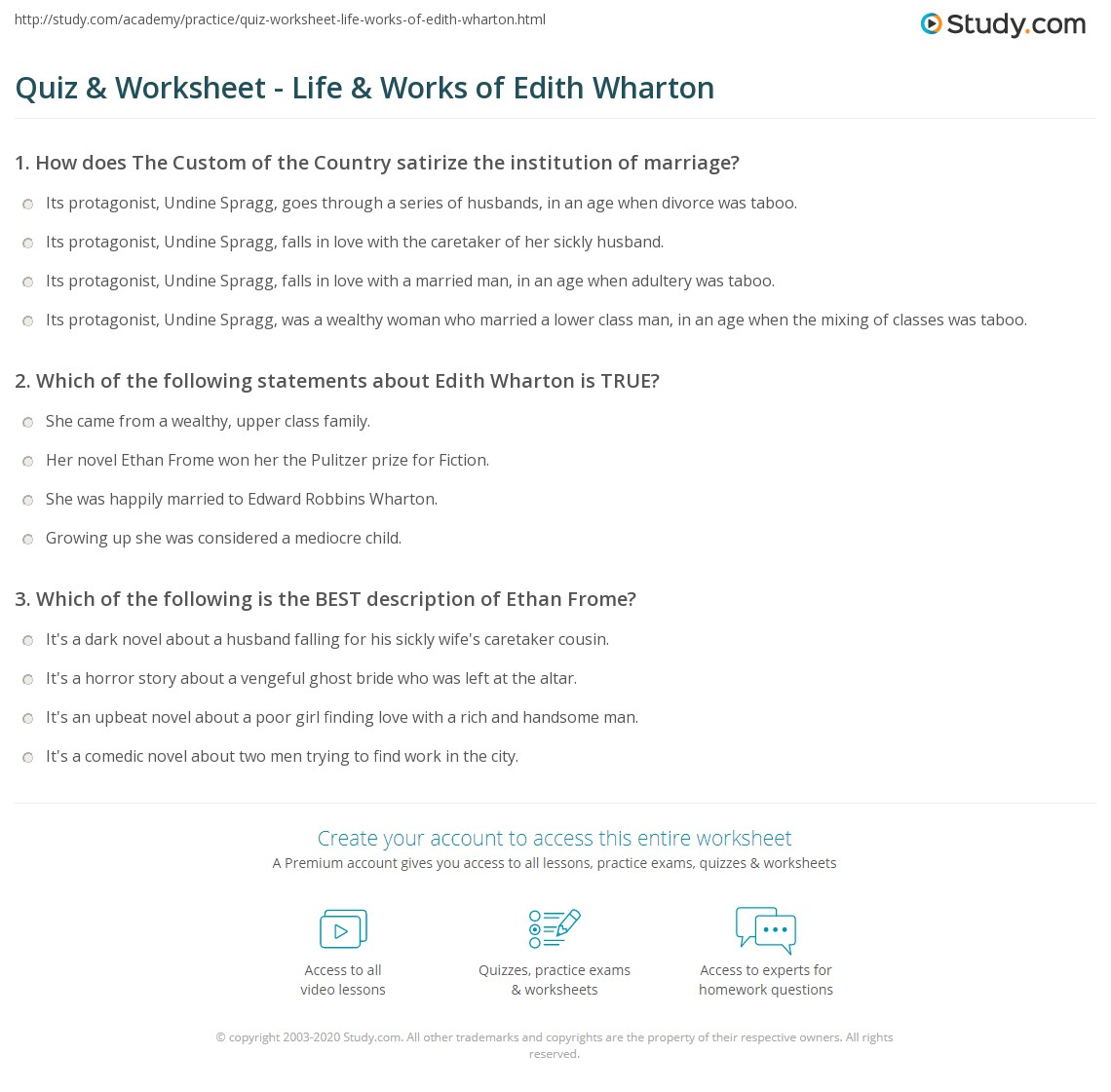 quiz worksheet life works of edith wharton com print edith wharton biography and major novels worksheet