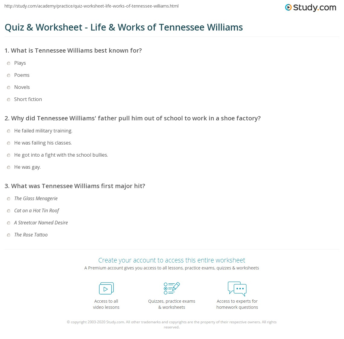 quiz worksheet life works of tennessee williams com already registered login here for access