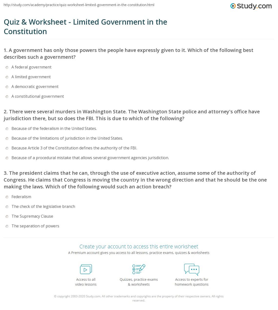quiz worksheet limited government in the constitution. Black Bedroom Furniture Sets. Home Design Ideas