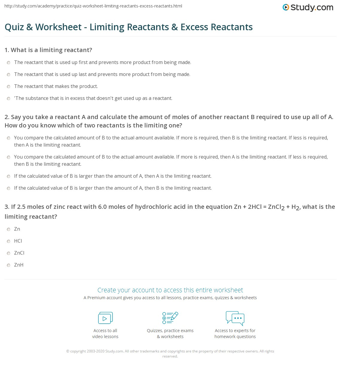 Quiz Worksheet Limiting Reactants Excess Reactants – Limiting Reactant Problems Worksheet