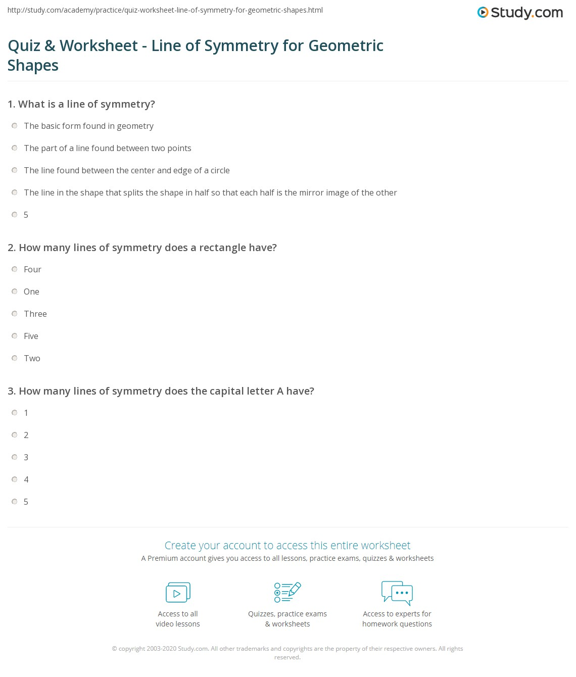Worksheets Lines Of Symmetry Worksheet quiz worksheet line of symmetry for geometric shapes study com print what is a in worksheet