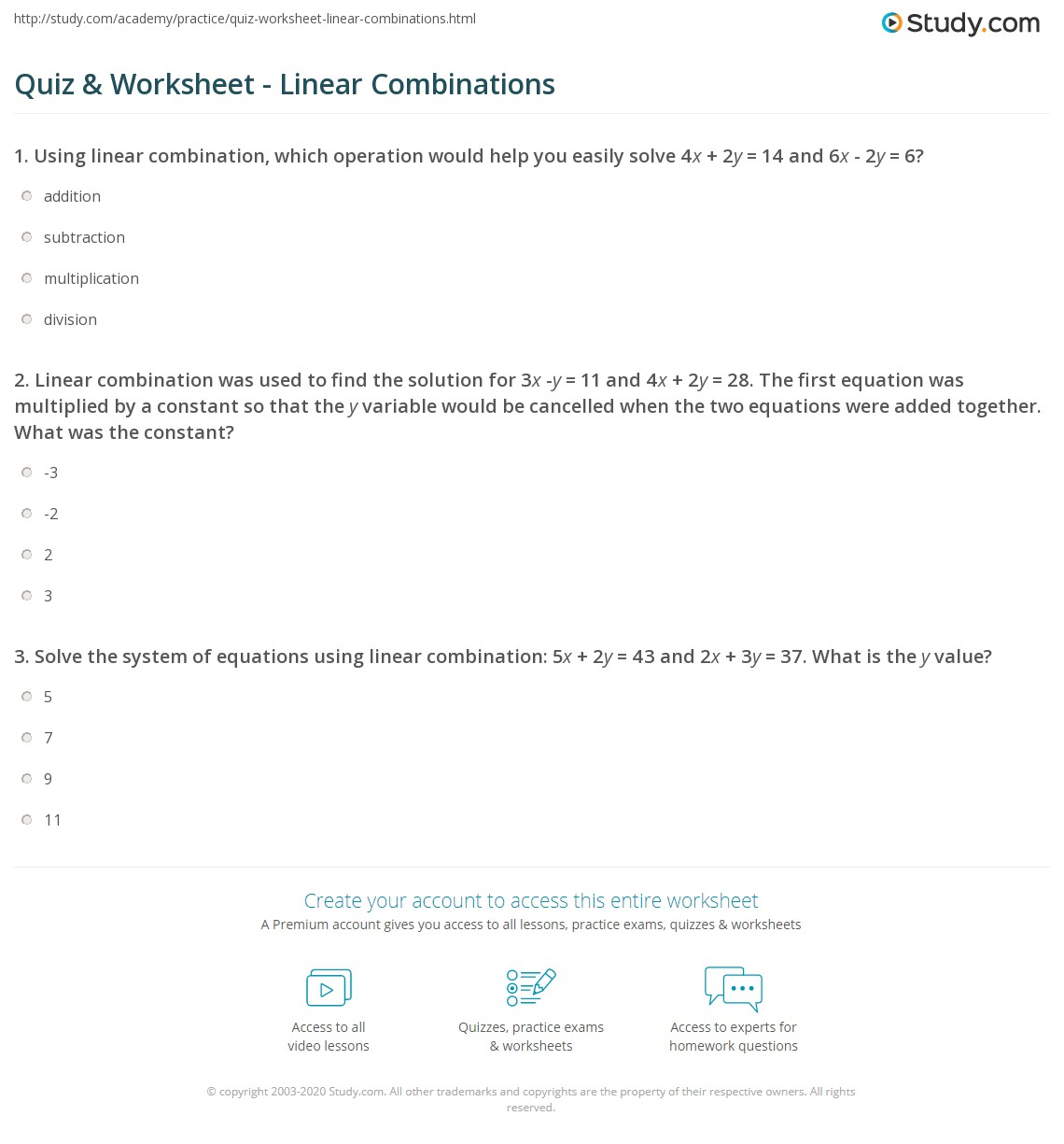 Quiz Worksheet Linear Combinations – Linear Equations in Two Variables Worksheets