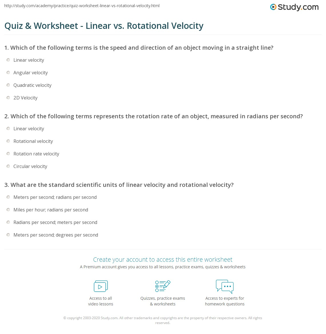 Printables Angular And Linear Velocity Worksheet Answer Key quiz worksheet linear vs rotational velocity study com print definitions equations worksheet