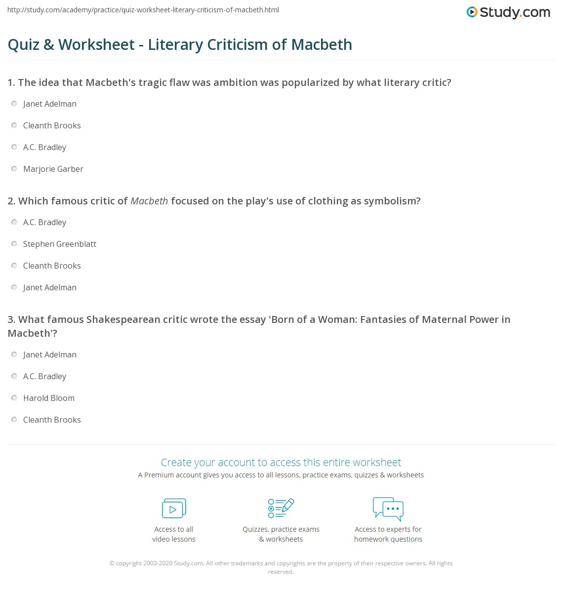 quiz worksheet literary criticism of macbeth com which famous critic of macbeth focused on the play s use of clothing as symbolism