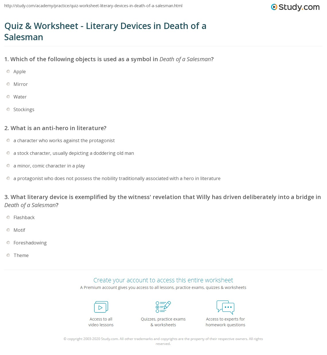 quiz worksheet literary devices in death of a sman com print literary devices in death of a sman worksheet