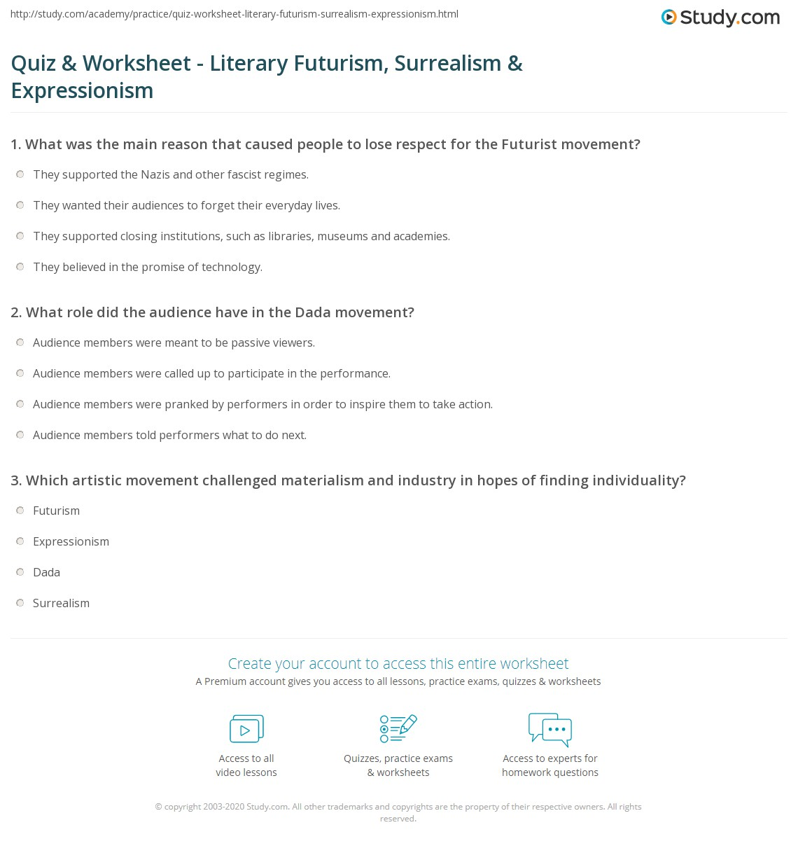 futurism essay what is life essay quiz worksheet literary futurism  quiz worksheet literary futurism surrealism expressionism print futurism dada surrealism expressionism worksheet