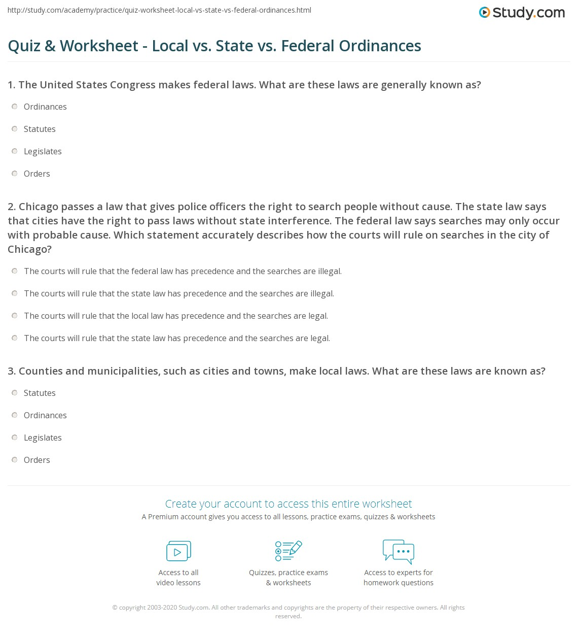 worksheet State Worksheets quiz worksheet local vs state federal ordinances study com print definitions and differences worksheet