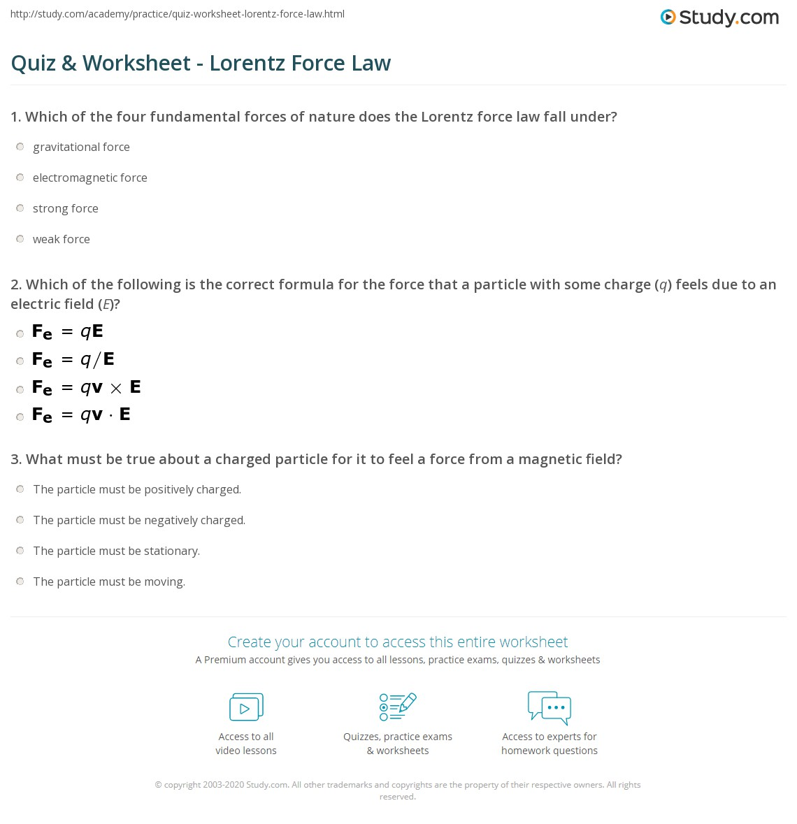 Quiz Worksheet Lorentz Force Law – Electric Field Worksheet