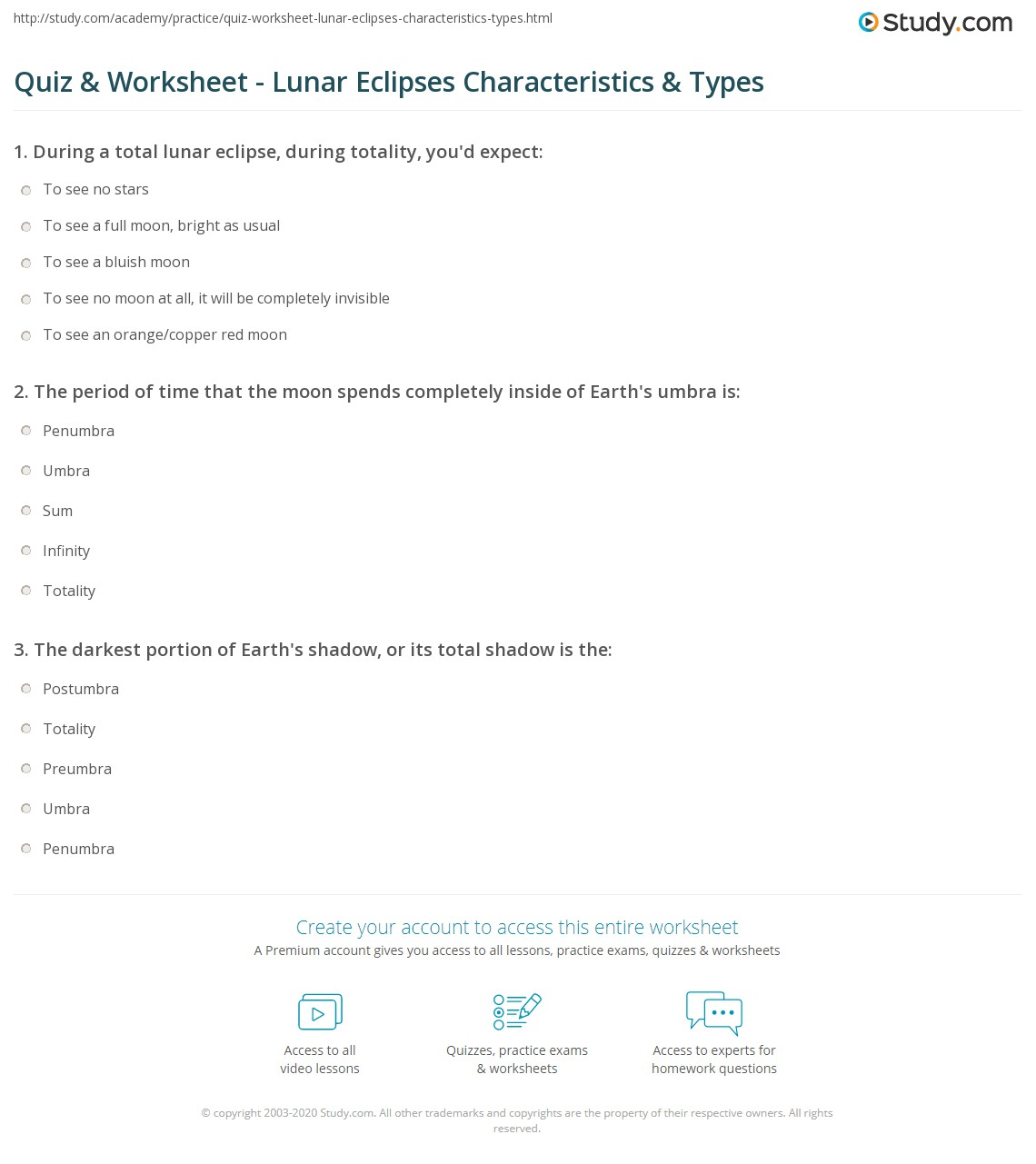 Quiz Worksheet Lunar Eclipses Characteristics Types – Solar and Lunar Eclipse Worksheet