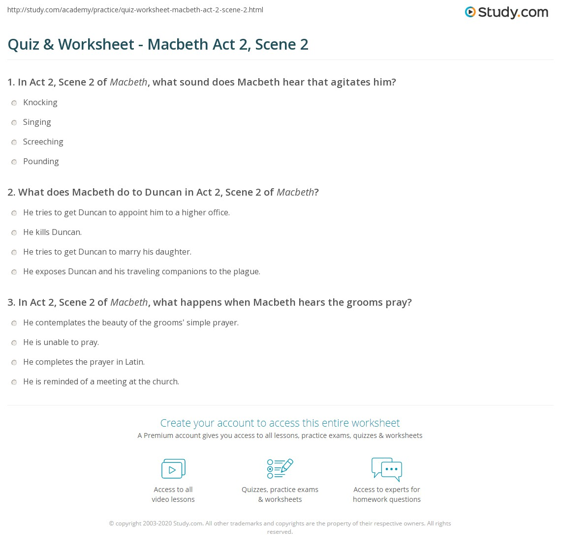 quiz worksheet macbeth act scene com print macbeth act 2 scene 2 summary quotes worksheet