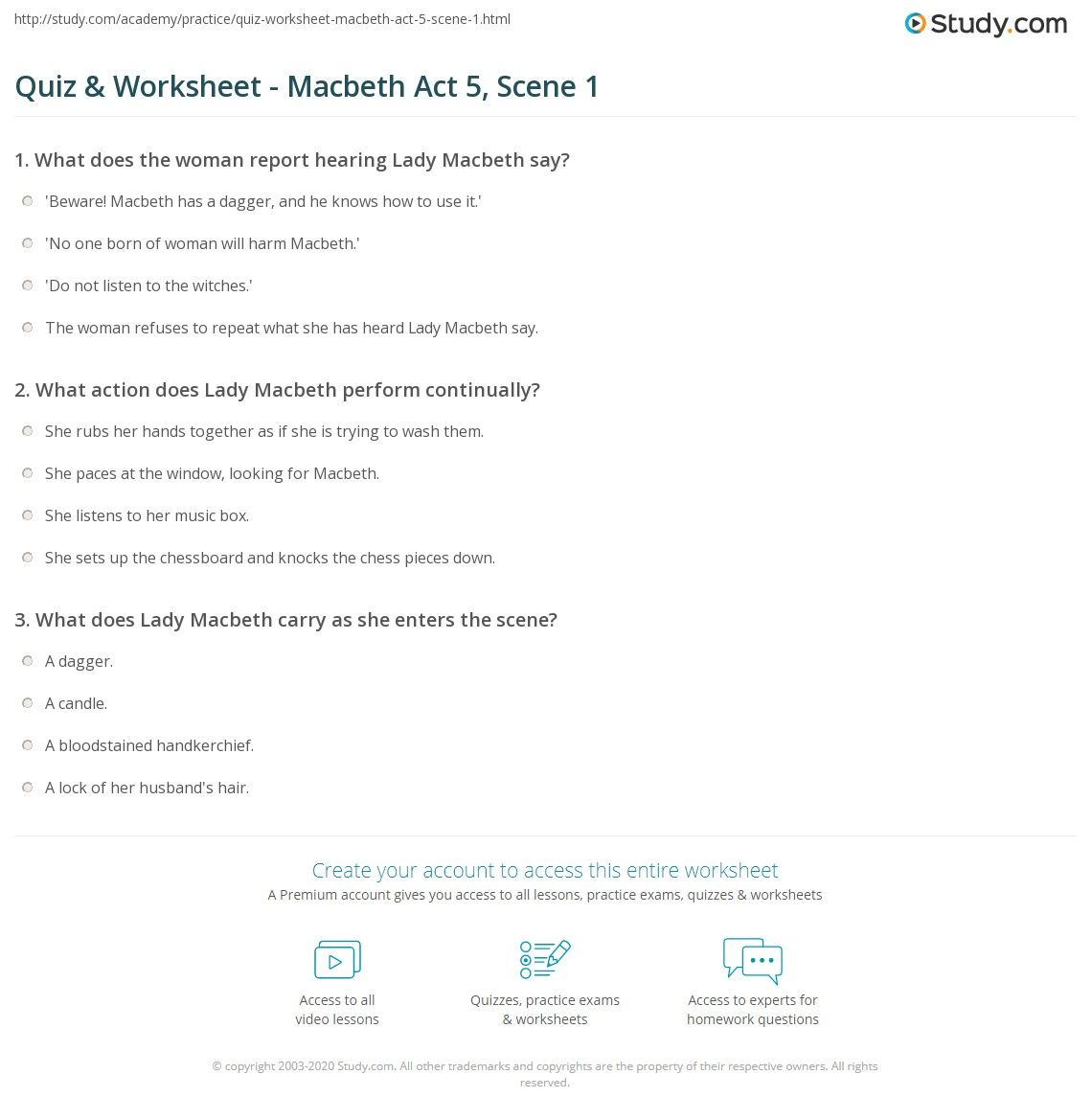 quiz worksheet macbeth act scene com print macbeth act 5 scene 1 summary quotes worksheet