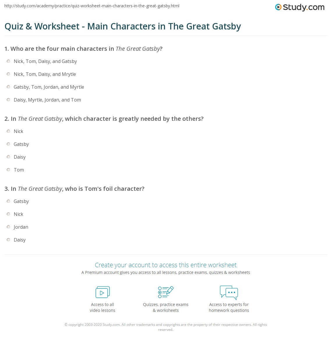 quiz worksheet main characters in the great gatsby com print main characters in the great gatsby character list analysis worksheet