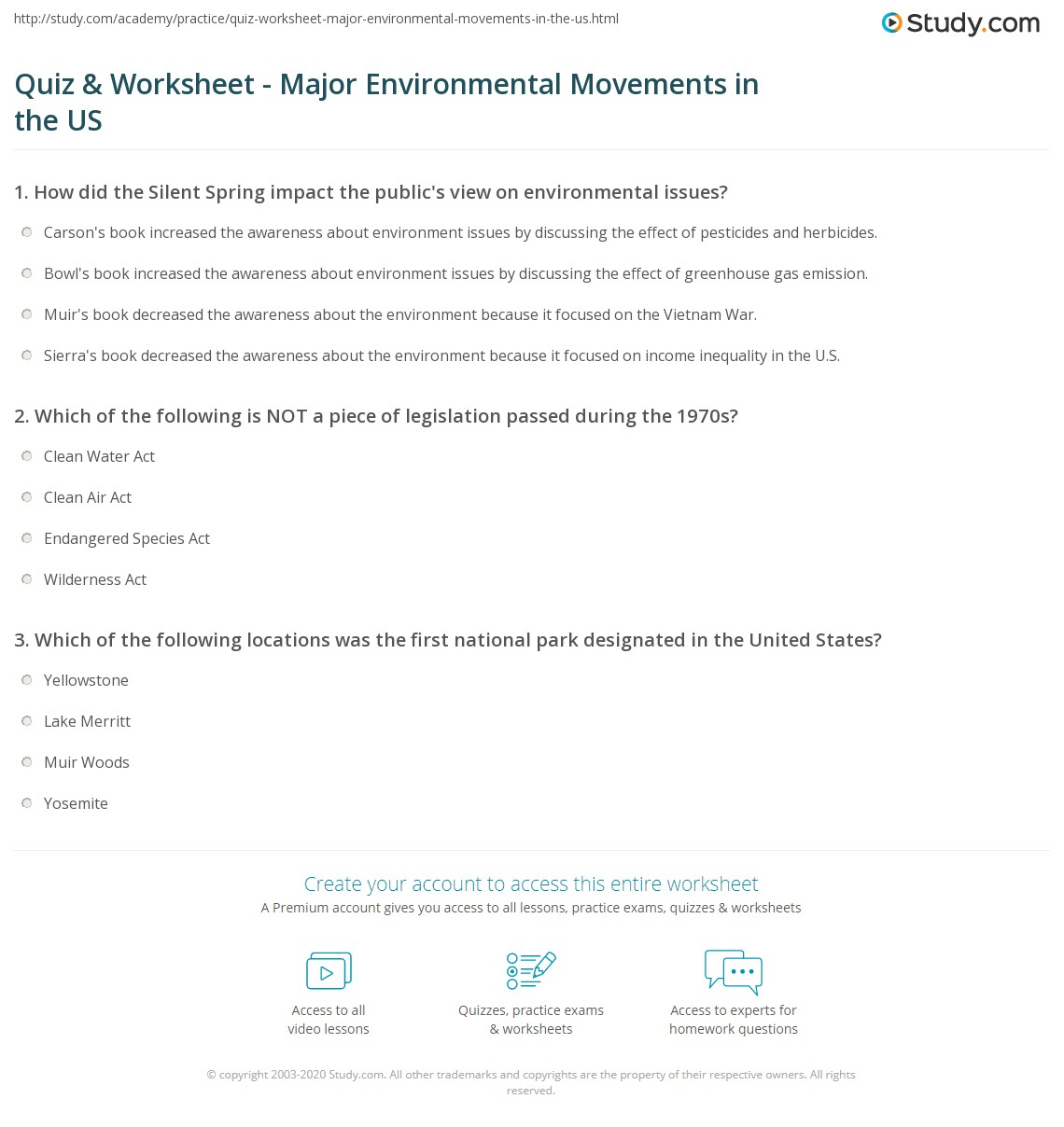 quiz worksheet major environmental movements in the us study com print u s environmental history movements timeline worksheet