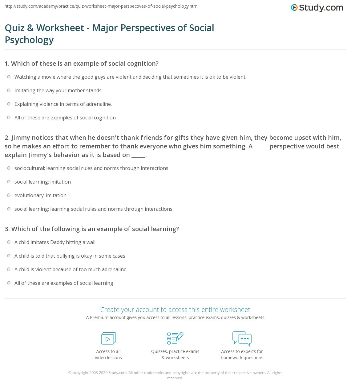 Printables Psychology Worksheets quiz worksheet major perspectives of social psychology study com 1 jimmy notices that when he doesnt thank friends for gifts they have given him become upset with so make
