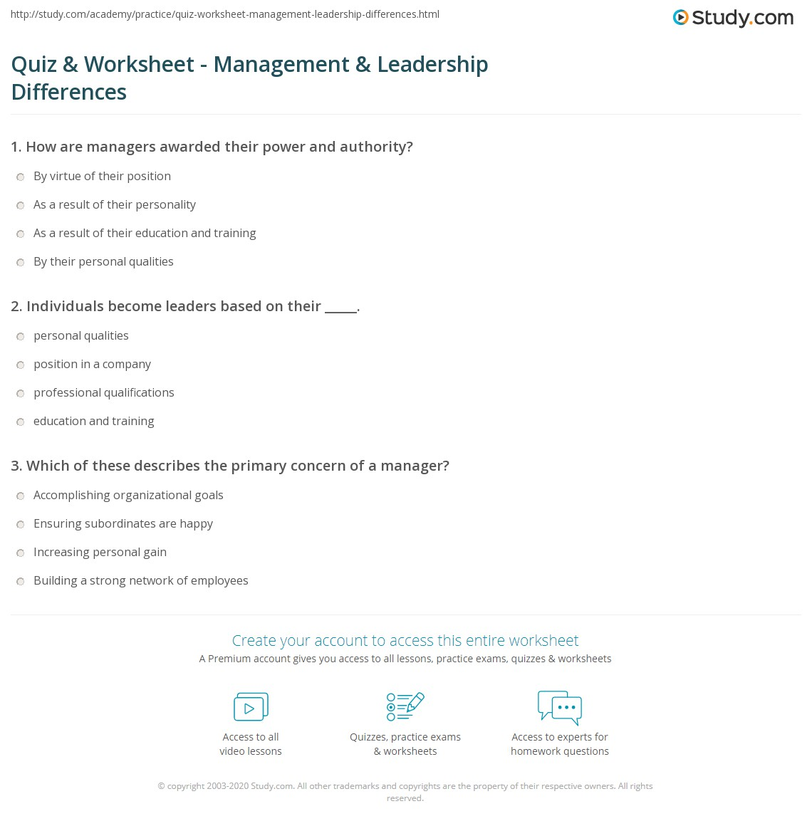 Quiz Worksheet Management Leadership Differences – Leadership Worksheets
