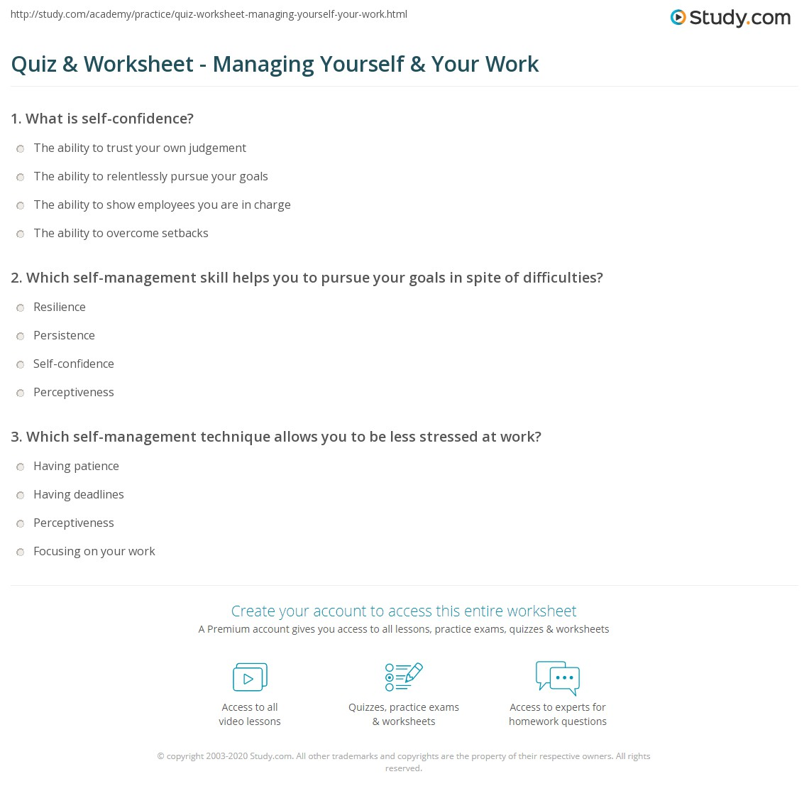 quiz worksheet managing yourself your work com which self management skill helps you to pursue your goals in spite of difficulties