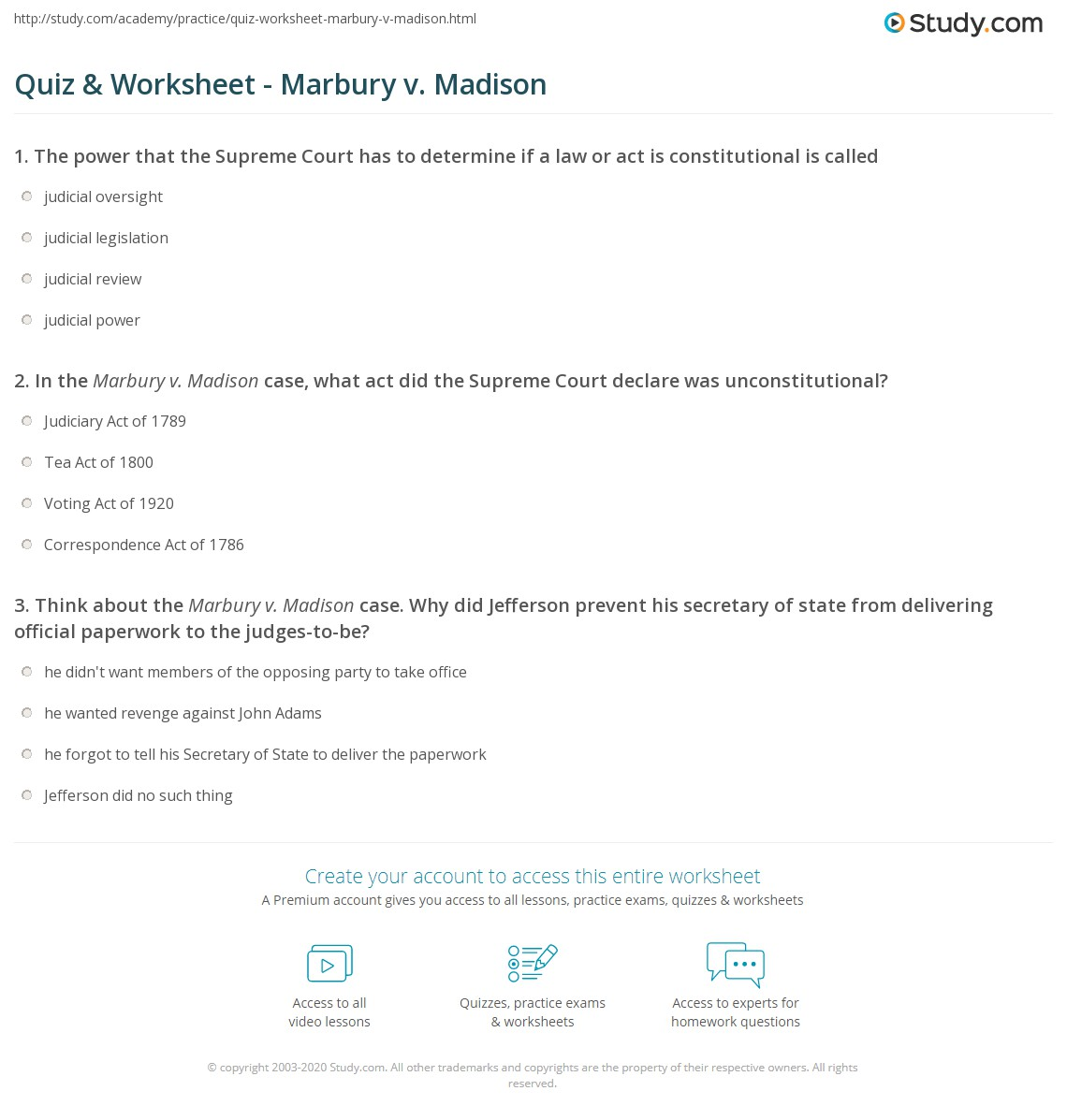 {Quiz Worksheet Marbury v Madison – Marbury V Madison Worksheet