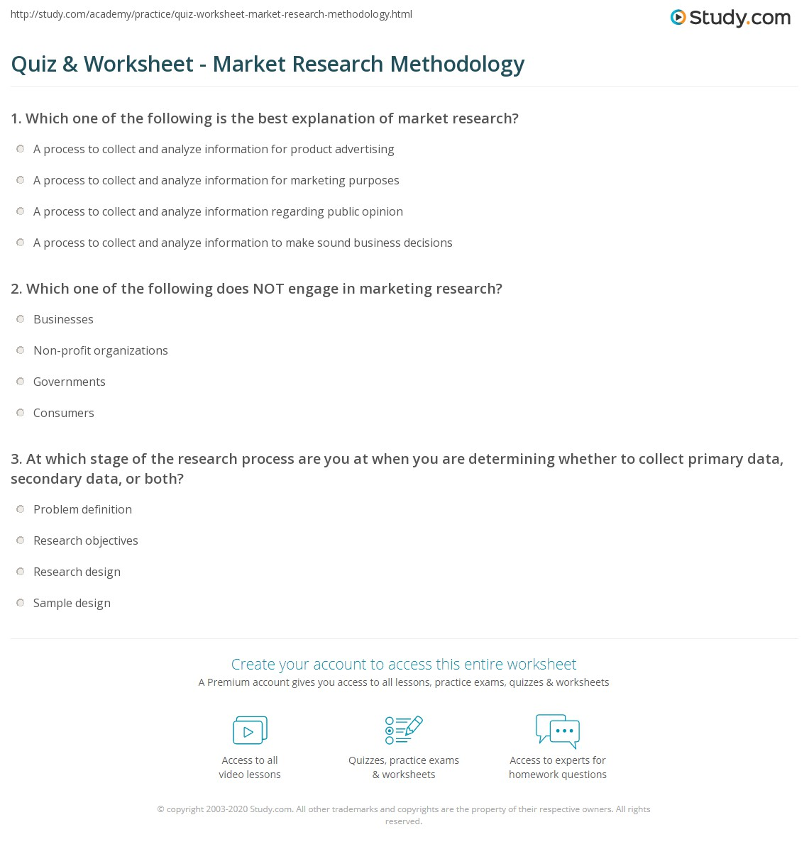 Quiz amp Worksheet Market Research Methodology Studycom Quiz Worksheet Market Research Methodology Quiz Worksheet Market Research Methodology