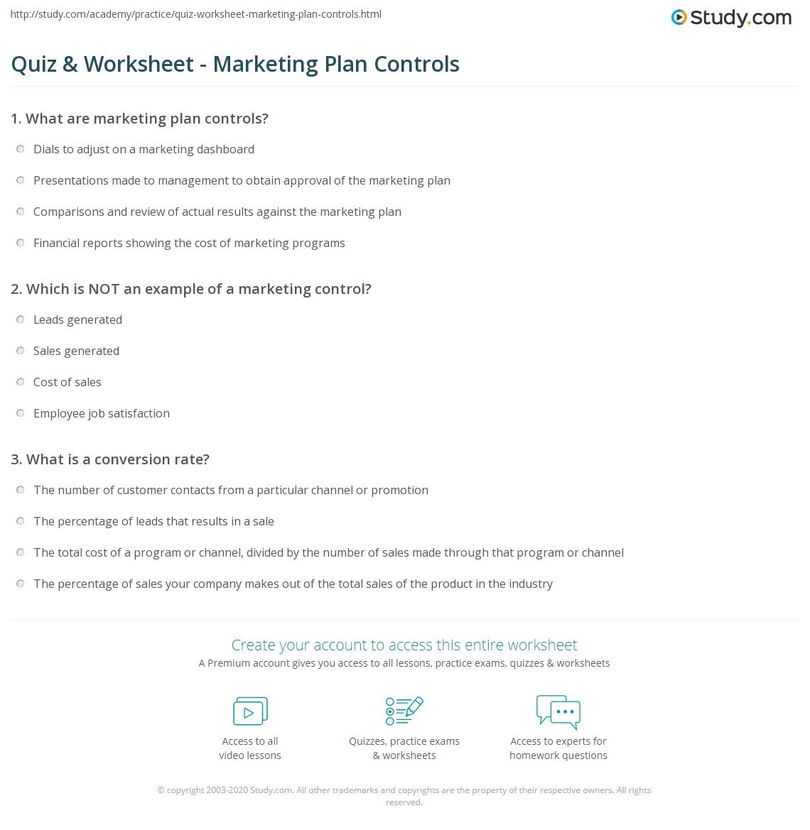Free Worksheet Marketing Plan Worksheet quiz worksheet marketing plan controls study com print examples explanation worksheet