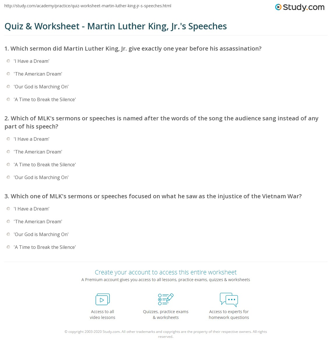 Quiz Worksheet Martin Luther King Jrs Speeches – Martin Luther King Jr Worksheet