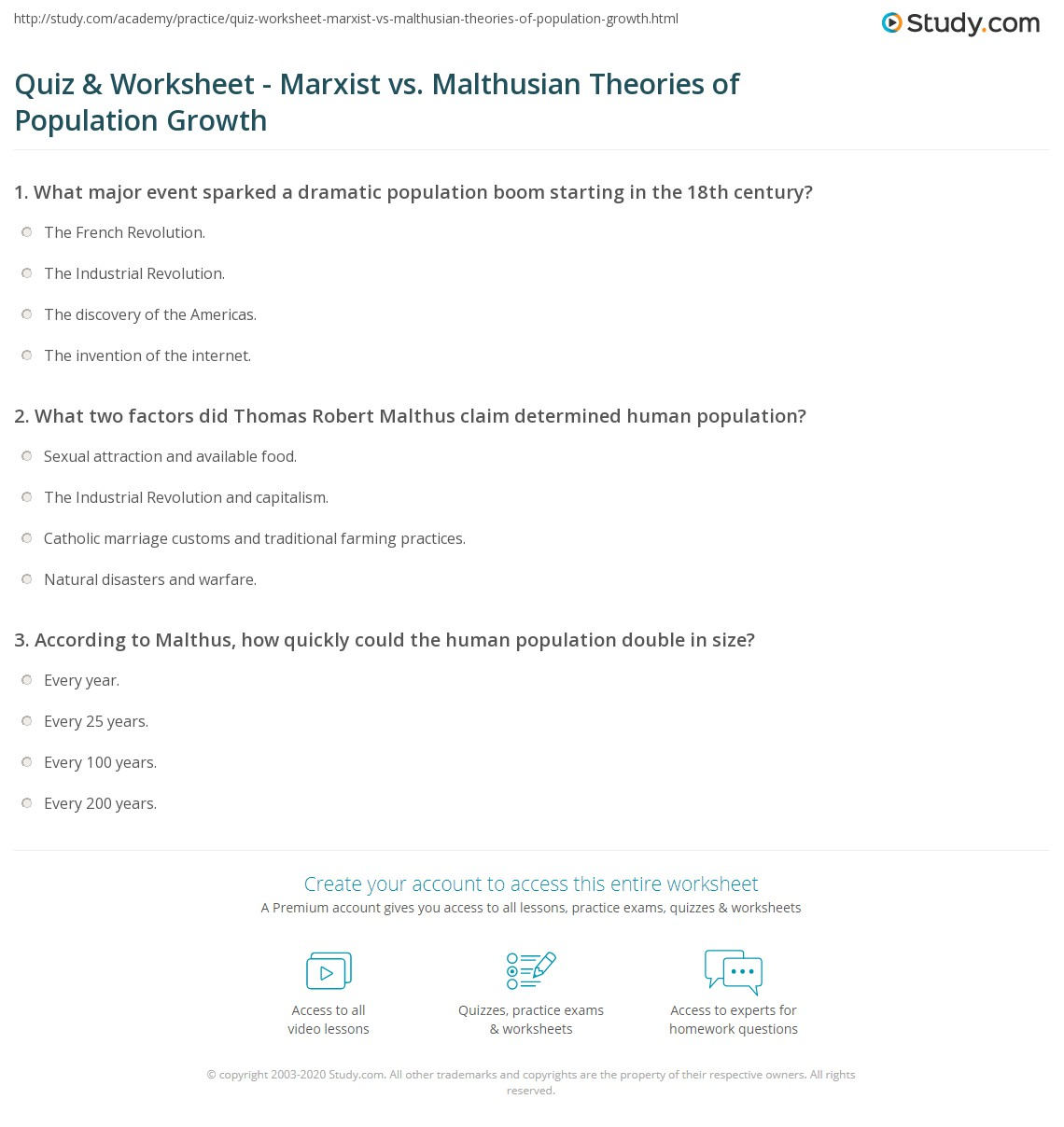 Quiz Worksheet Marxist Vs Malthusian Theories Of