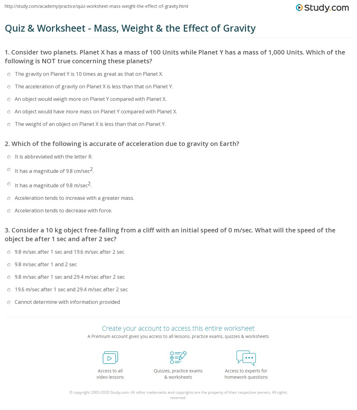 Quiz Worksheet Mass Weight the Effect of Gravity – Mass and Weight Worksheet