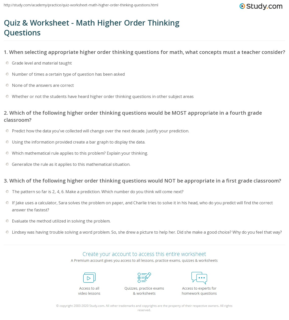 Quiz and Worksheet Math Higher Order Thinking Questions – Maths Quiz Worksheets