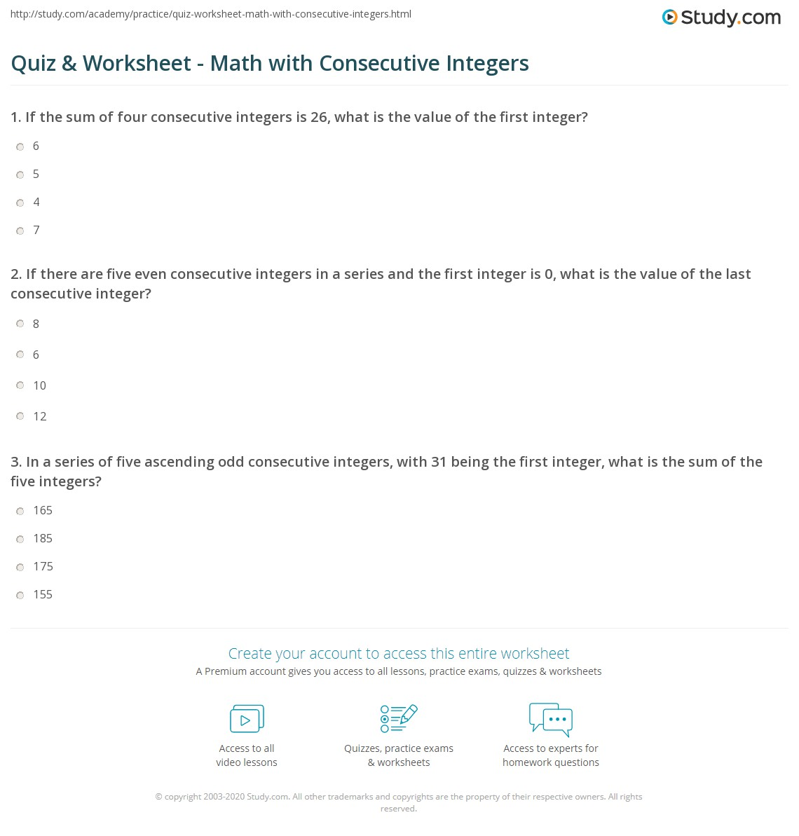 Quiz Worksheet Math with Consecutive Integers – Integer Worksheets
