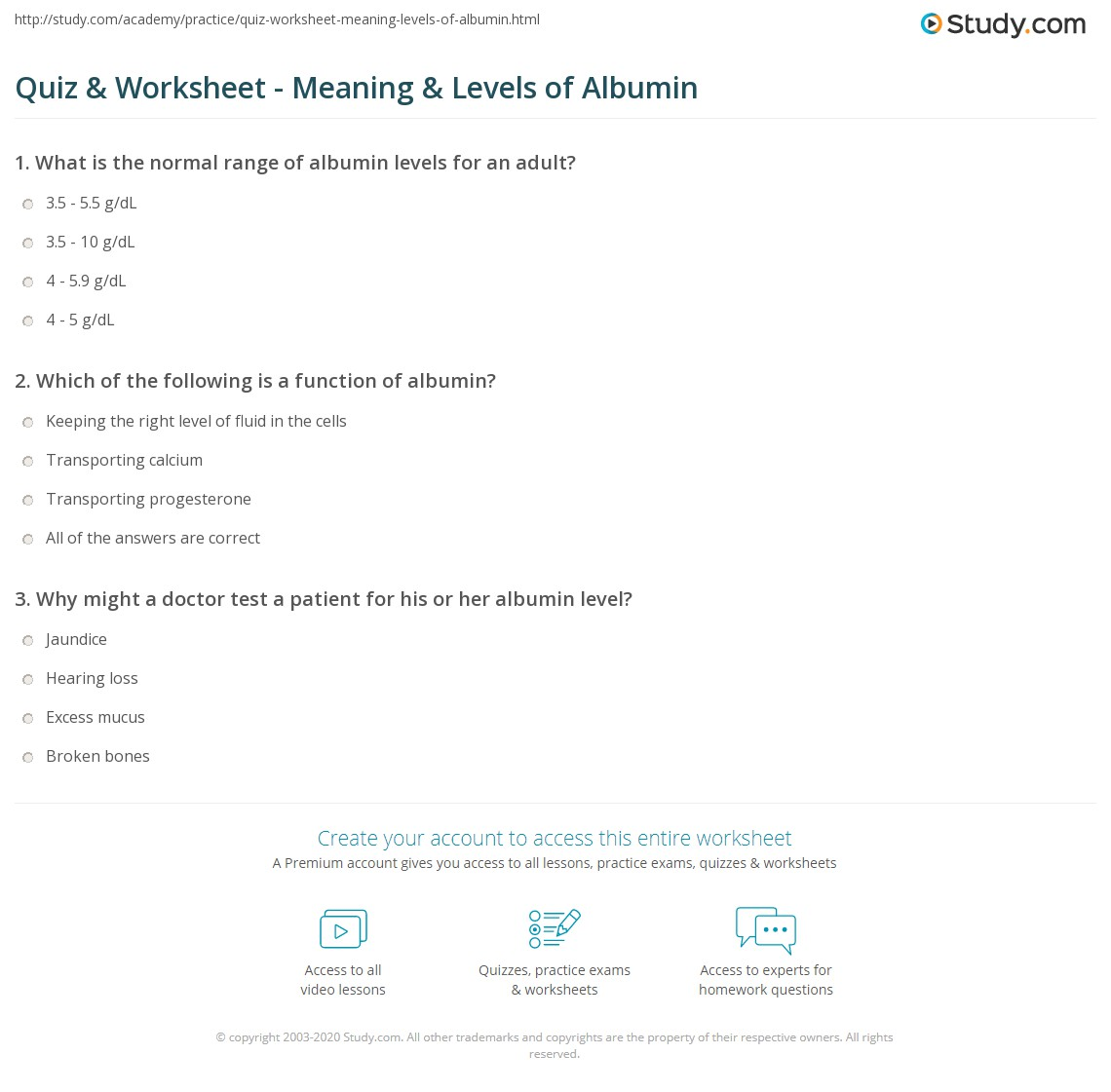 quiz & worksheet - meaning & levels of albumin | study, Skeleton