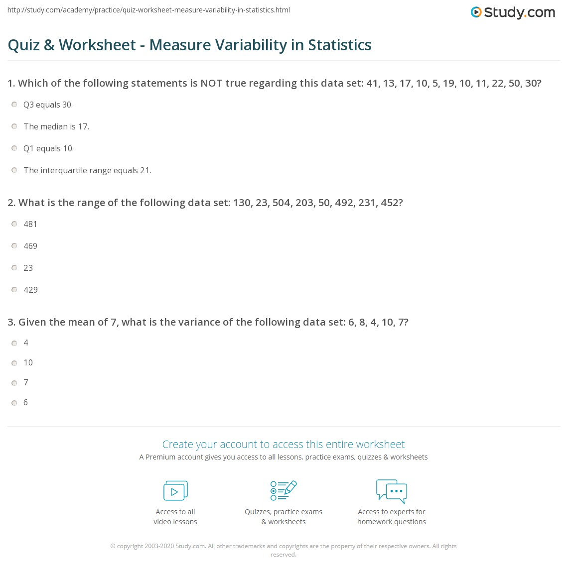quiz worksheet measure variability in statistics com print variability in statistics definition measures worksheet