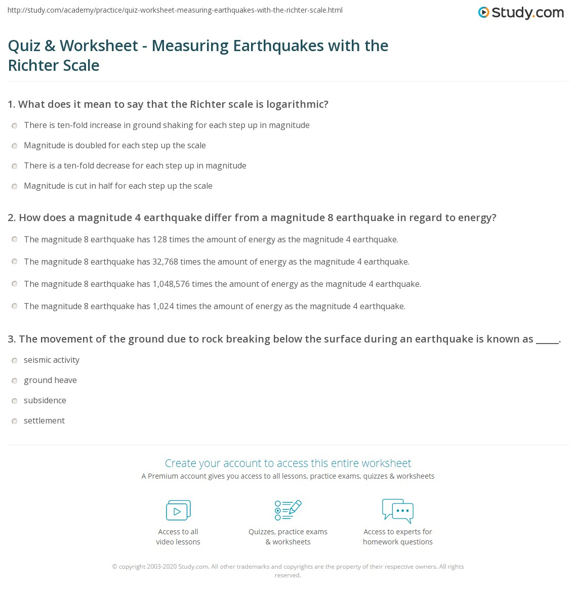 Quiz & Worksheet - Measuring Earthquakes with the Richter Scale ...