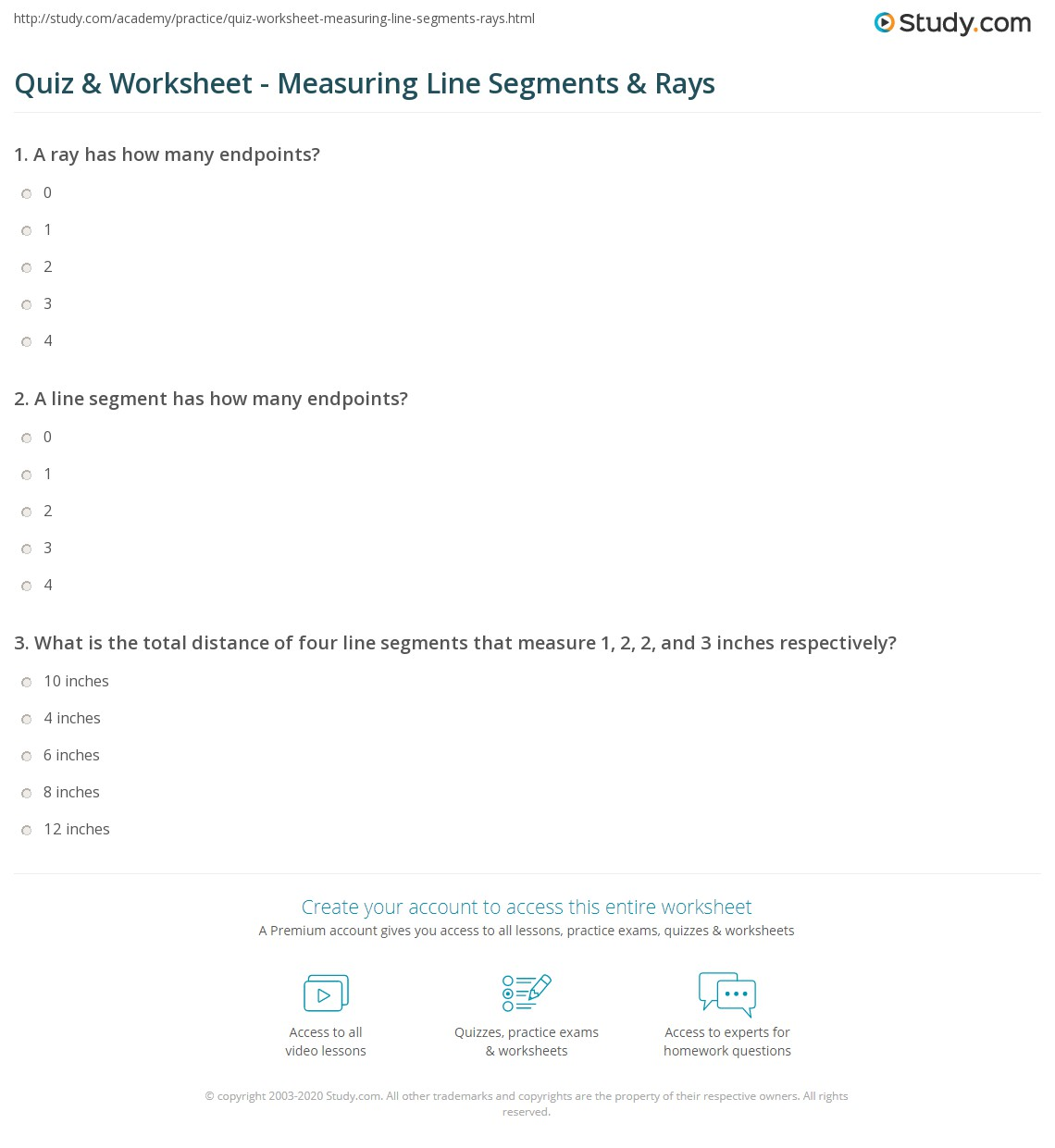 Quiz & Worksheet - Measuring Line Segments & Rays | Study.com