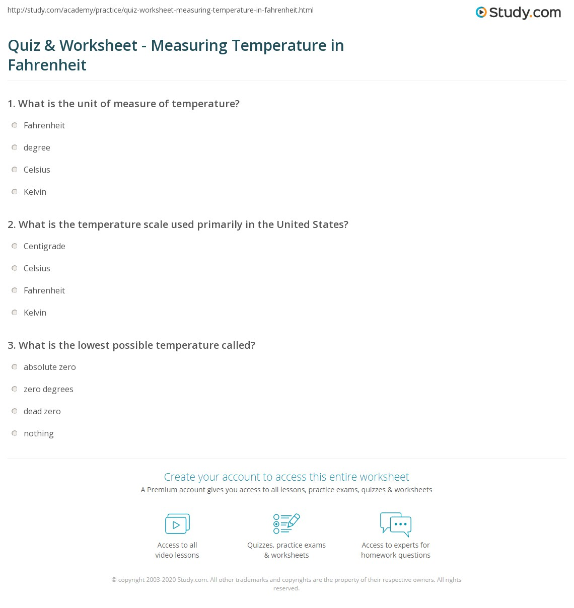 Quiz Worksheet Measuring Temperature in Fahrenheit – Measuring Temperature Worksheets