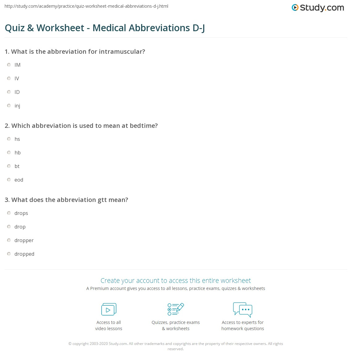 worksheet Abbreviations Worksheets quiz worksheet medical abbreviations d j study com print common worksheet