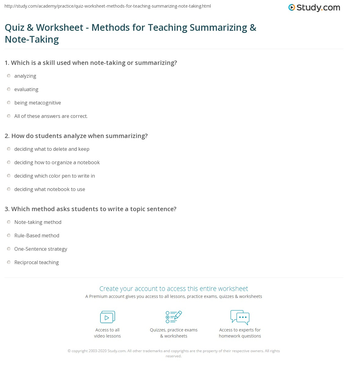 Quiz Worksheet Methods for Teaching Summarizing NoteTaking – Note Taking Worksheets