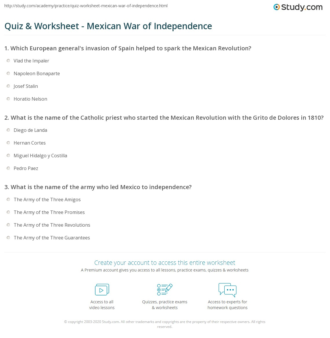 quiz worksheet mexican war of independence com print mexican war of independence summary timeline worksheet