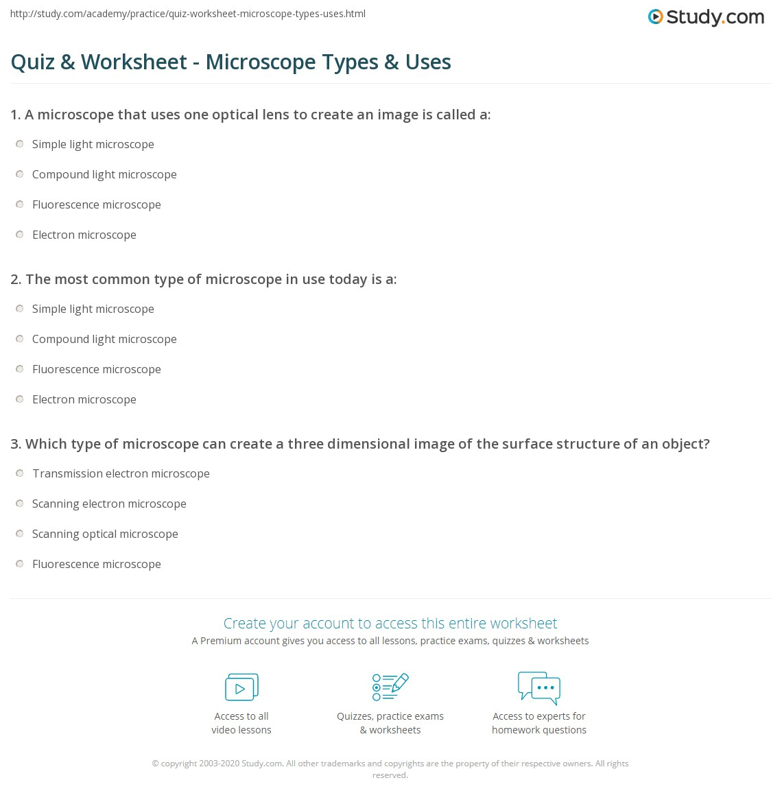 Quiz Worksheet Microscope Types Uses – Microscope Quiz Worksheet