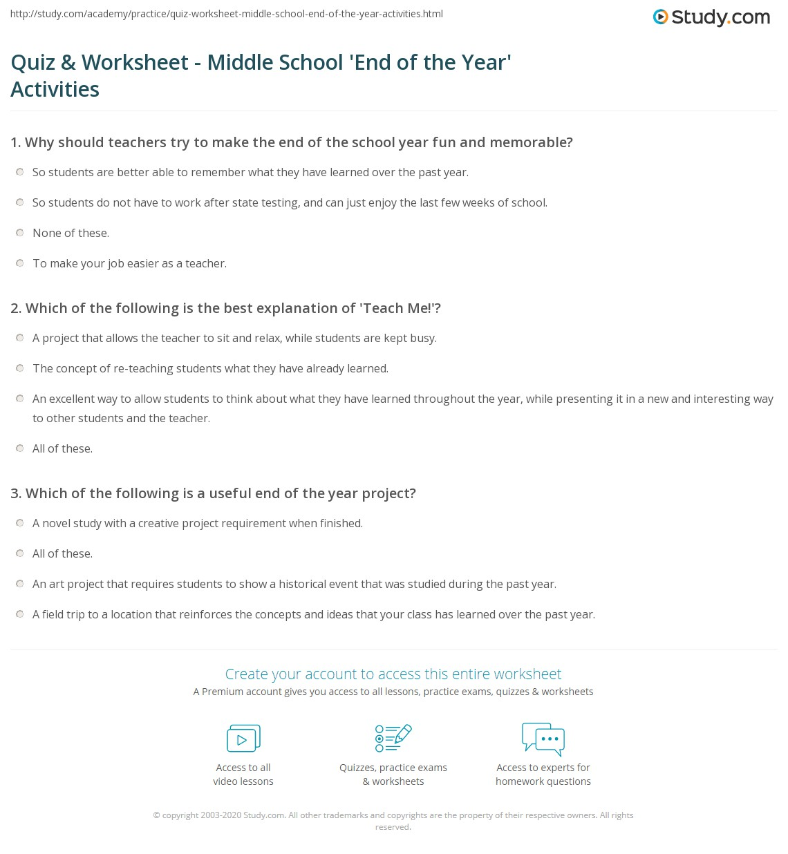 Quiz Worksheet Middle School End of the Year Activities – All About Me Worksheet Middle School