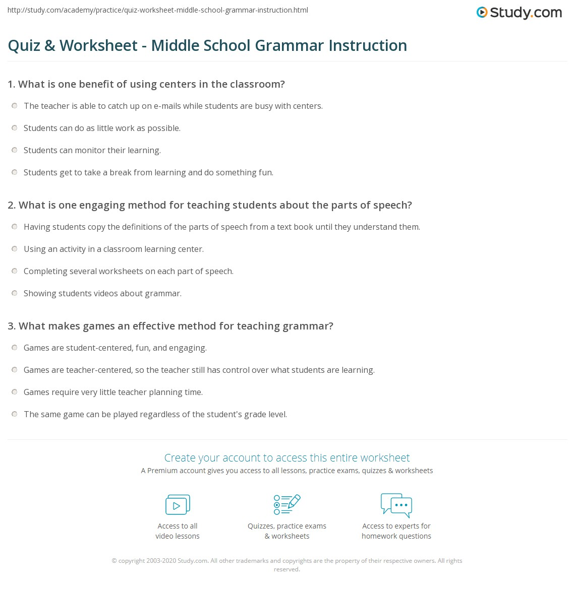 Quiz Worksheet Middle School Grammar Instruction – Parts of Speech Worksheets Middle School