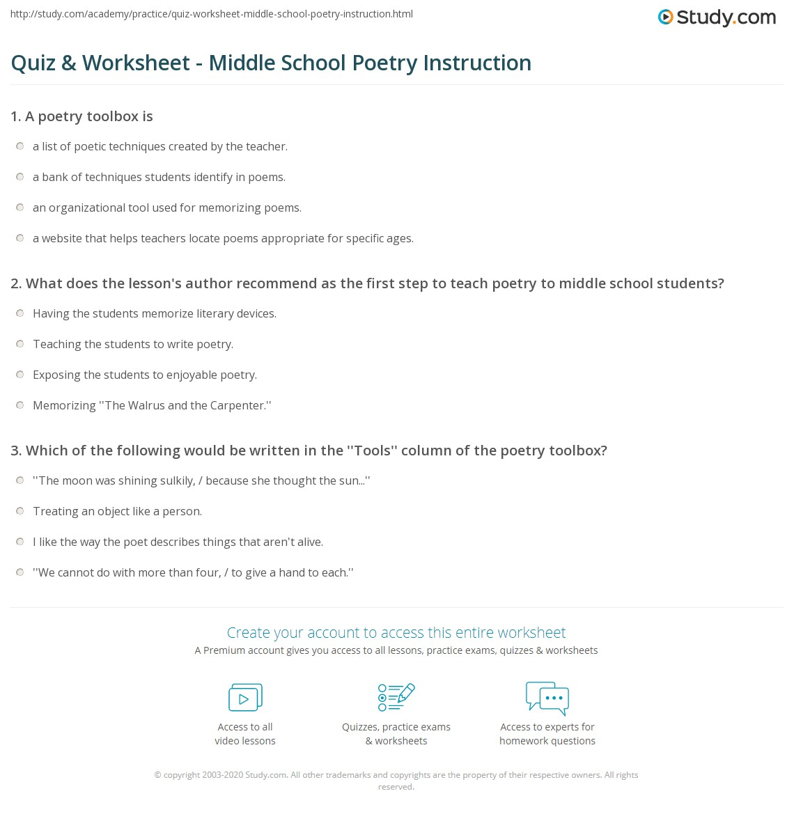 Quiz & Worksheet - Middle School Poetry Instruction | Study.com