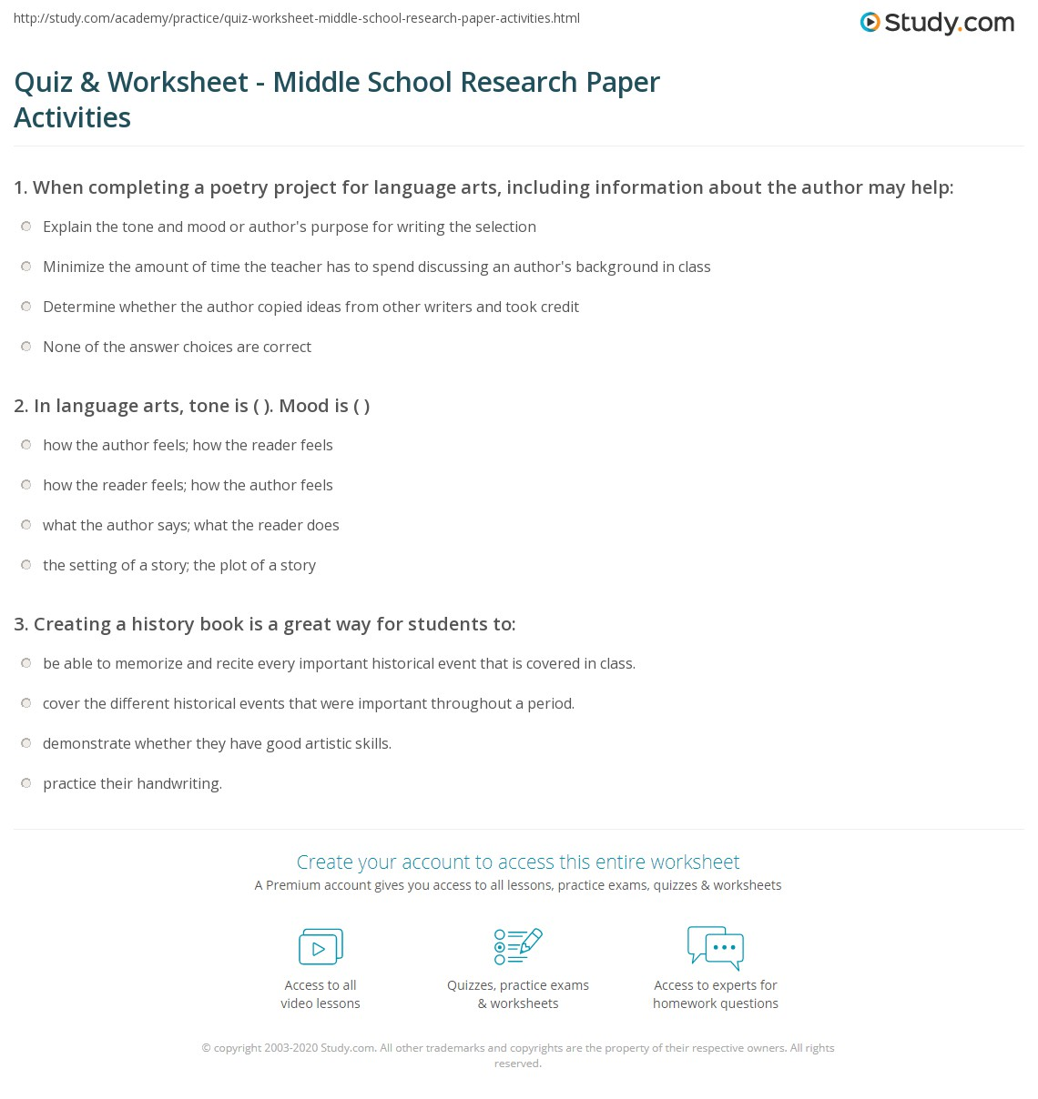 Quiz Worksheet Middle School Research Paper Activities – Theme Worksheets Middle School