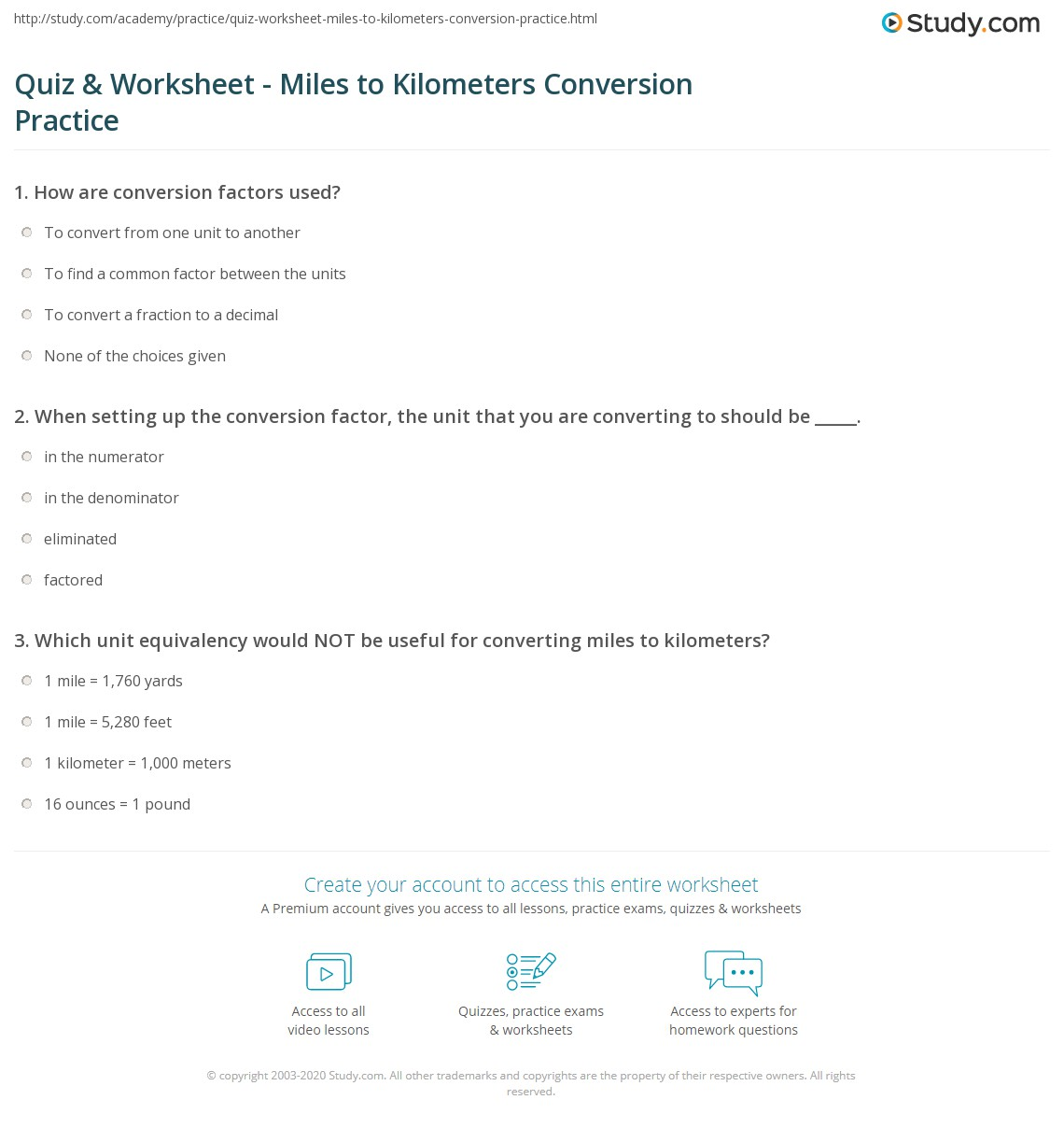 Quiz Worksheet Miles to Kilometers Conversion Practice – Si Unit Conversion Worksheet