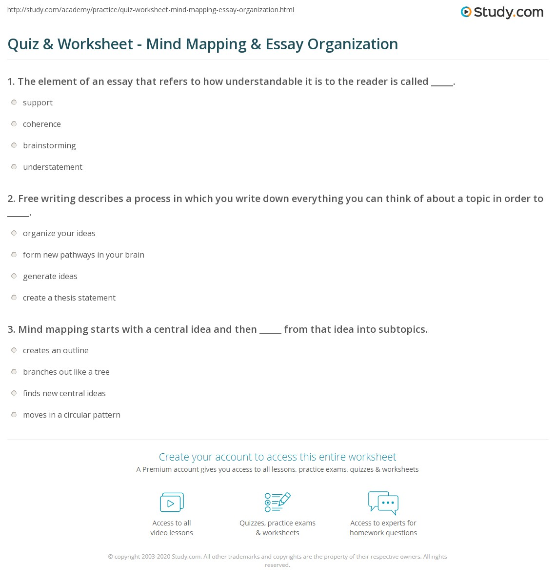 quiz worksheet mind mapping essay organization com print structuring essays using mind mapping worksheet