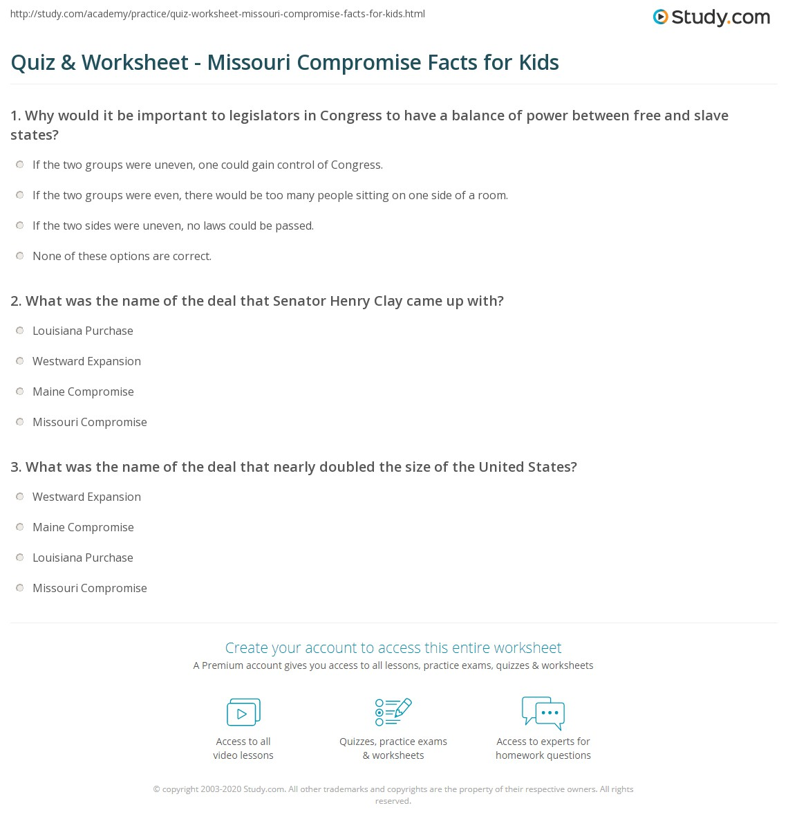 Worksheets Missouri Compromise Worksheet quiz worksheet missouri compromise facts for kids study com print lesson worksheet
