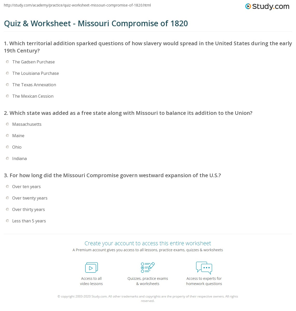 Quiz Worksheet Missouri Compromise of 1820 – Missouri Compromise Worksheet