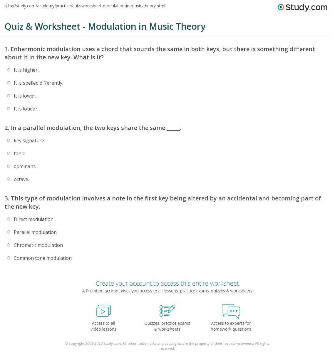 Quiz Worksheet Modulation in Music Theory – Music Notation Worksheets