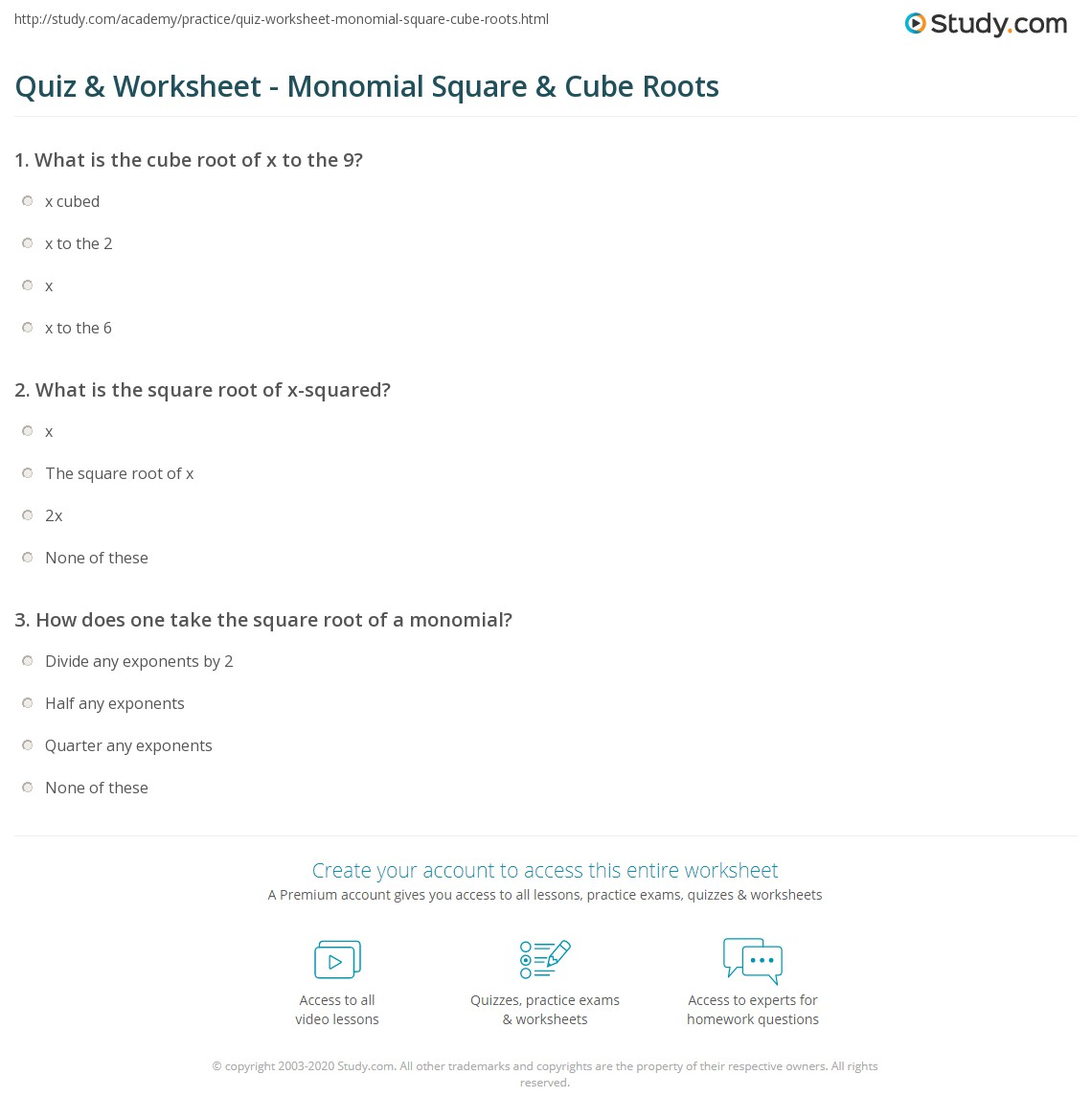 Quiz & Worksheet - Monomial Square & Cube Roots  Study.com multiplication, worksheets for teachers, grade worksheets, alphabet worksheets, free worksheets, and education Square Root Worksheet Grade 8 1418 x 1140